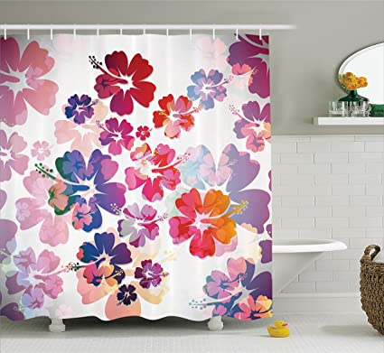 Amazon.com: Ambesonne Hawaiian Decorations Collection, Exotic Floral ...