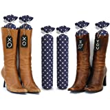 My Boot Trees, Boot Shaper Stands for Closet Organization. Many Patterns to Choose From. 1 Pair (Navy Blue With White Polkadots).