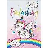 10 süße Vintage Einhorn-Einladungskarten für den Kindergeburtstag mit Unicorn– mit Regenbogen, Wolken und Sternen in Pastell– Geburtstagskarten für Mädchen – ideal für die Einhornparty