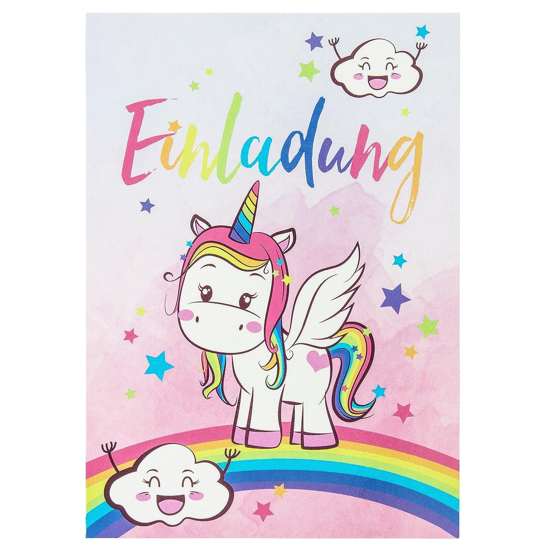 10 süße Vintage Einhorn-Einladungskarten für den Kindergeburtstag mit Unicorn– mit Regenbogen, Wolken und Sternen in Pastell– Geburtstagskarten für Mädchen – ideal für die Einhornparty BEYMAX