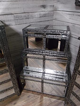 set 3 x silver embossed wooden storage trunks chests vintage style