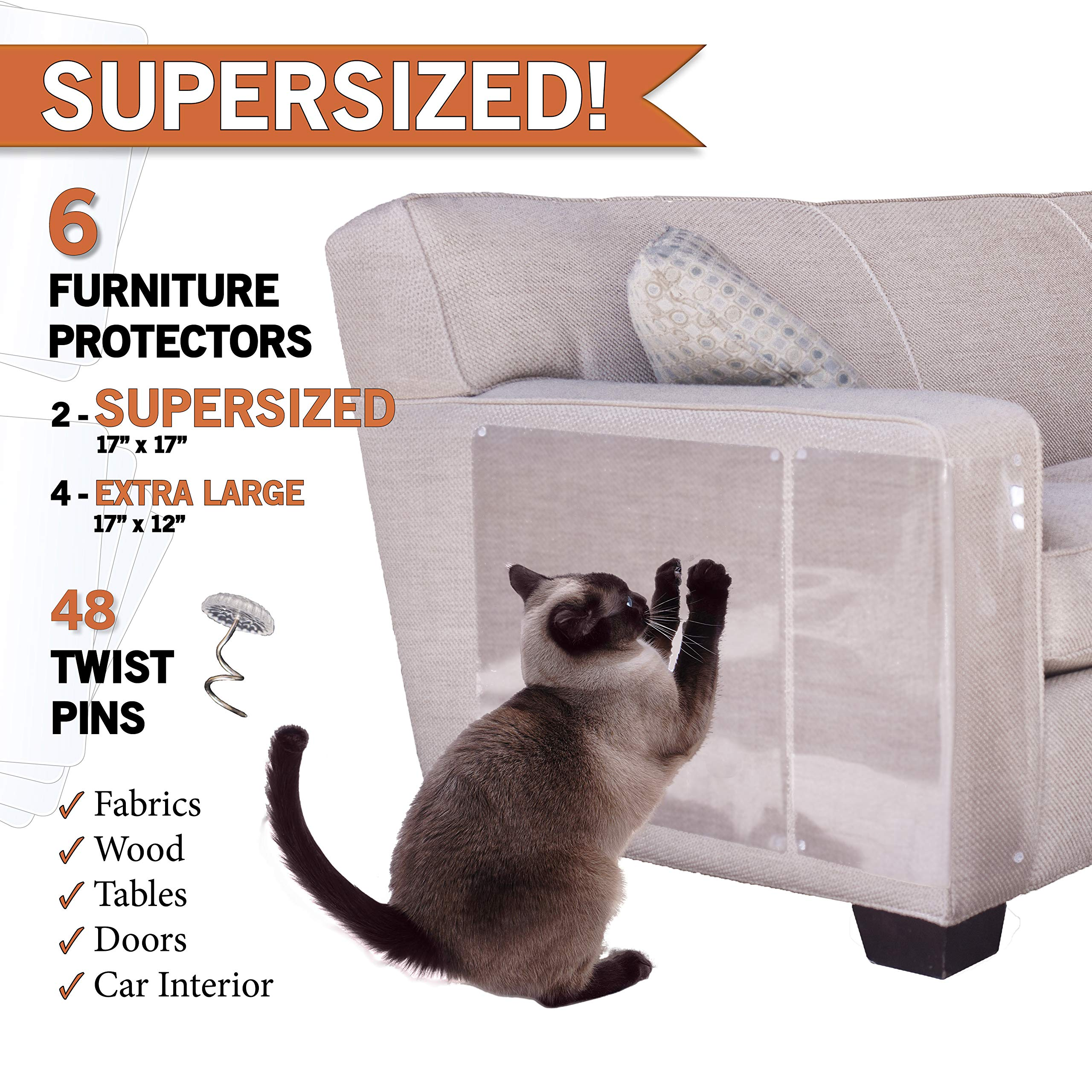 PanzerGlobal Cat Furniture Protector - Supersized Pet Protectors Included - Cut-to-Fit Sofa Scratch Protection - Dog Scratching Guards for Couch, Door, Armchair Corner - Animal Anti-Scratch Shield by Furniture Protector by Panzerglobal