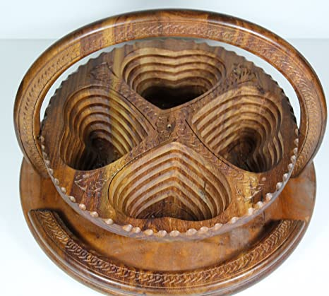 Giftsnmemories 4 Hearts 12 Inch Wooden Collapsible Fruit Basket Brown Thanksgiving Fruit Basketwooden Fruit Basketvalentines Fruit Basketswooden