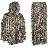 3D Camo Hunting Ghillie Suit Lightweight Wicked Woods Camouflage - Knee Length Leg Zippers For Easy On and Off - Twice The Leafs Of A Standard Leafy Suit