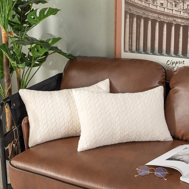 UGASA Decor Pillow Covers Velvet Striped Cushion Case for Lumbar, 1 Piece, 12x20-inch (30x50cm), Cream