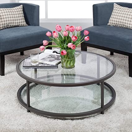 Amazoncom Studio Designs Home Camber Round Coffee Table In - Pewter glass coffee table