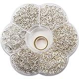 TOAOB 1 Box (1500 Stück) gemischte Größe Silber Biegeringe Federringe Ringe mit Öffner Näher Schmuckherstellung Werkzeug