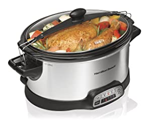 Hamilton Beach Programmable Slow Cooker, 6-Quart with Clip-Tight Sealed Lid, Stainless Steel (33466)