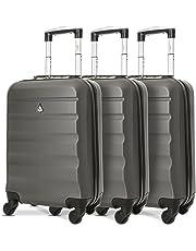 Aerolite Leichtgewicht ABS Hartschale 4 Rollen Handgepäck Trolley Koffer Bordgepäck Kabinentrolley Reisekoffer Gepäck, Genehmigt für Ryanair, easyJet, Lufthansa, und viele mehr