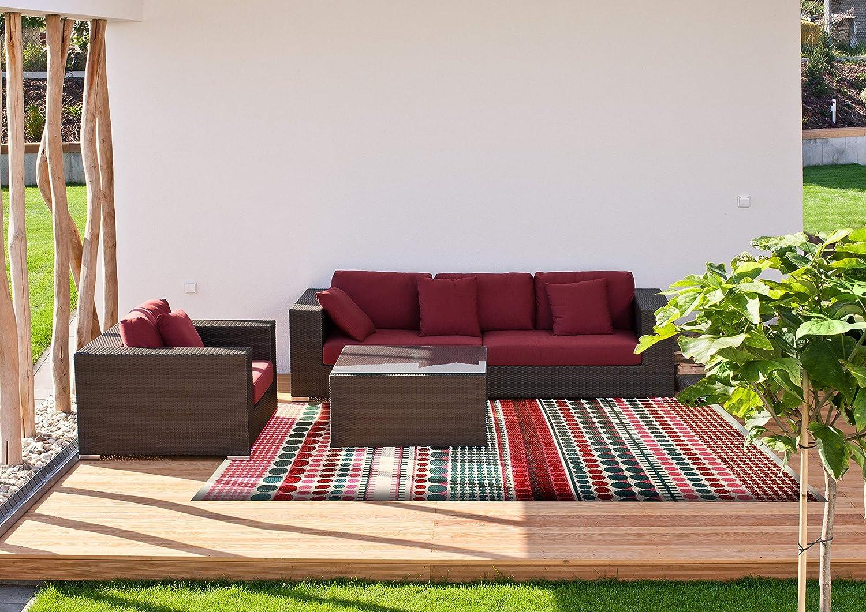 Lightweight Outdoor Reversible Durable Plastic Rug 4x6, Pixel Red//Pink