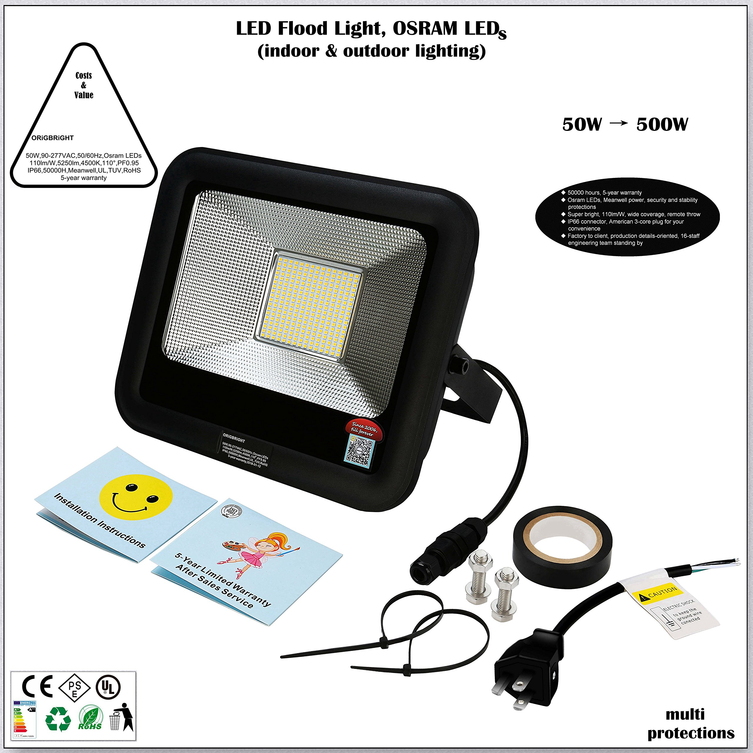 ORiGBRiGHT 50W LED Flood Light, Work Light, Osram LED, 115lm/W 5636lm, 4500K, Meanwell Power, IP66, UL, 5-Year Warranty, Stability Security Protections, US Plug, Indoor, Outdoor, Tennis Court, Facade