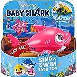 Robo Alive Junior Baby Shark Battery-Powered Sing and Swim Bath Toy by ZURU - Mommy Shark (Pink)