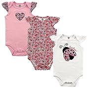 Hudson Baby Girls' 3-Pack Hanging Bodysuit, Love Bug, 0-3 Months (3M)