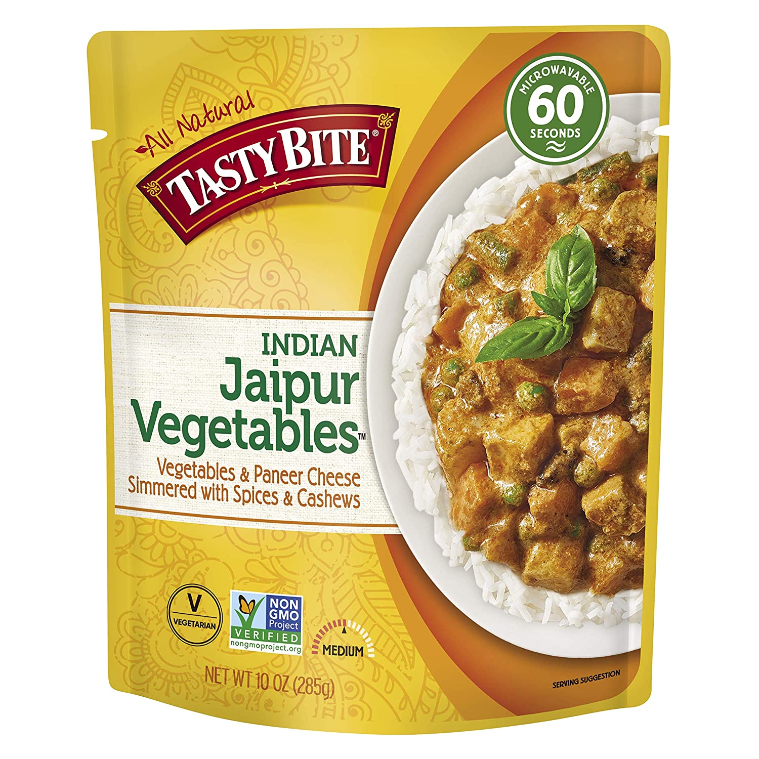 Tasty Bite Indian Jaipur Vegetables, Microwaveable Ready to Eat Entrée, 10 Ounce (Pack of 6)