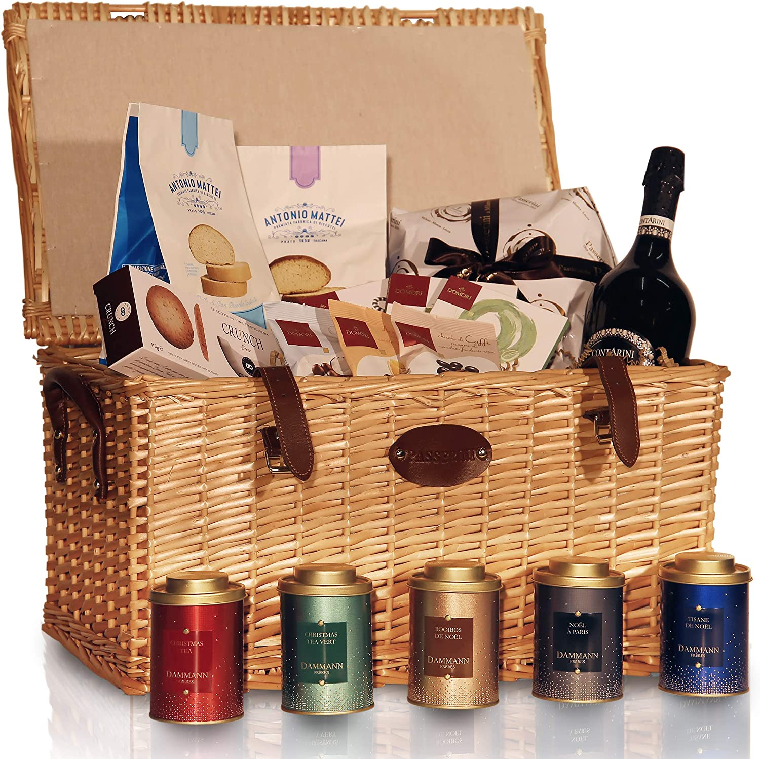 Pasticceria Passerini dal 1919 Christmas Hamper, French & Italian Specialities in Vintage Wicker Basket: Panettone, Baked Goods, Chocolate, Tea in Tin Cans
