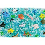 Sensory Jungle Water Beads for Kids: 6,000 Non Toxic Gel Water Balls - Blue, Green, and White Jelly Pearls with Plastic Sea C