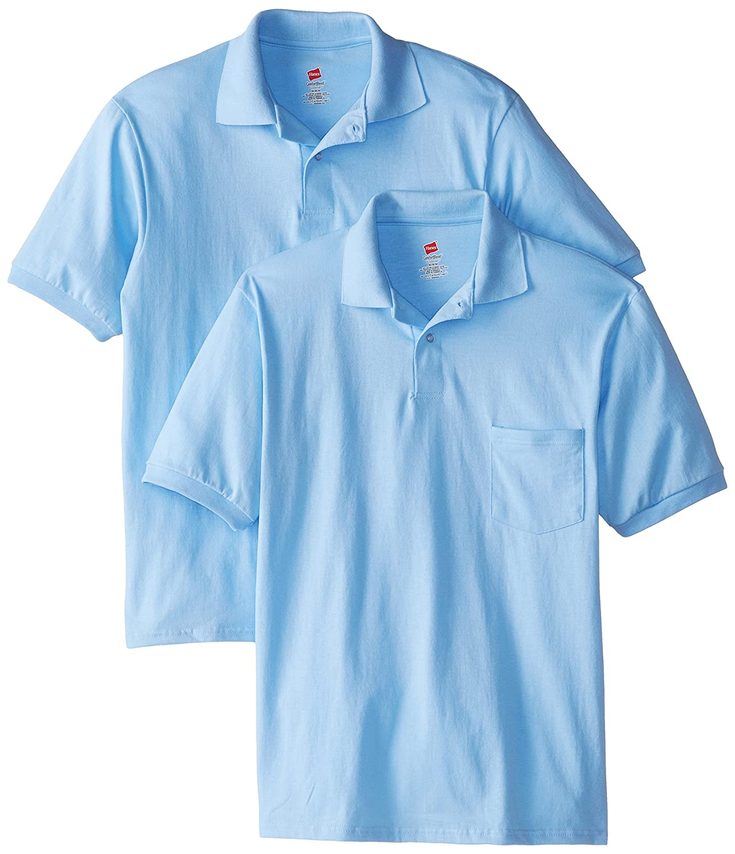 Hanes Mens 2 Pack Short Sleeve Jersey Pocket Polo, Light Blue ...