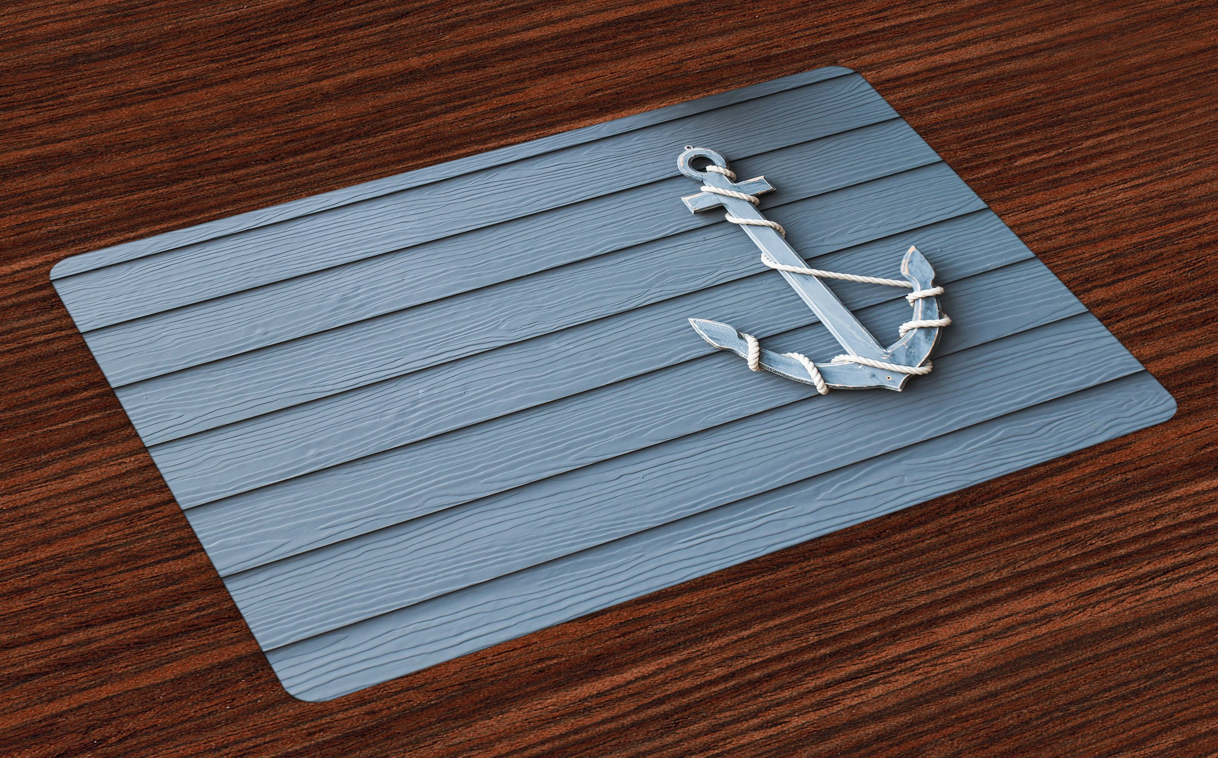 Lunarable Nautical Place Mats Set of 4, Anchor with Marine Rope on Digital Print of Wooden Planks Sea Ocean Life Theme, Washable Fabric Placemats for Dining Room Kitchen Table Decor, Blue and Grey