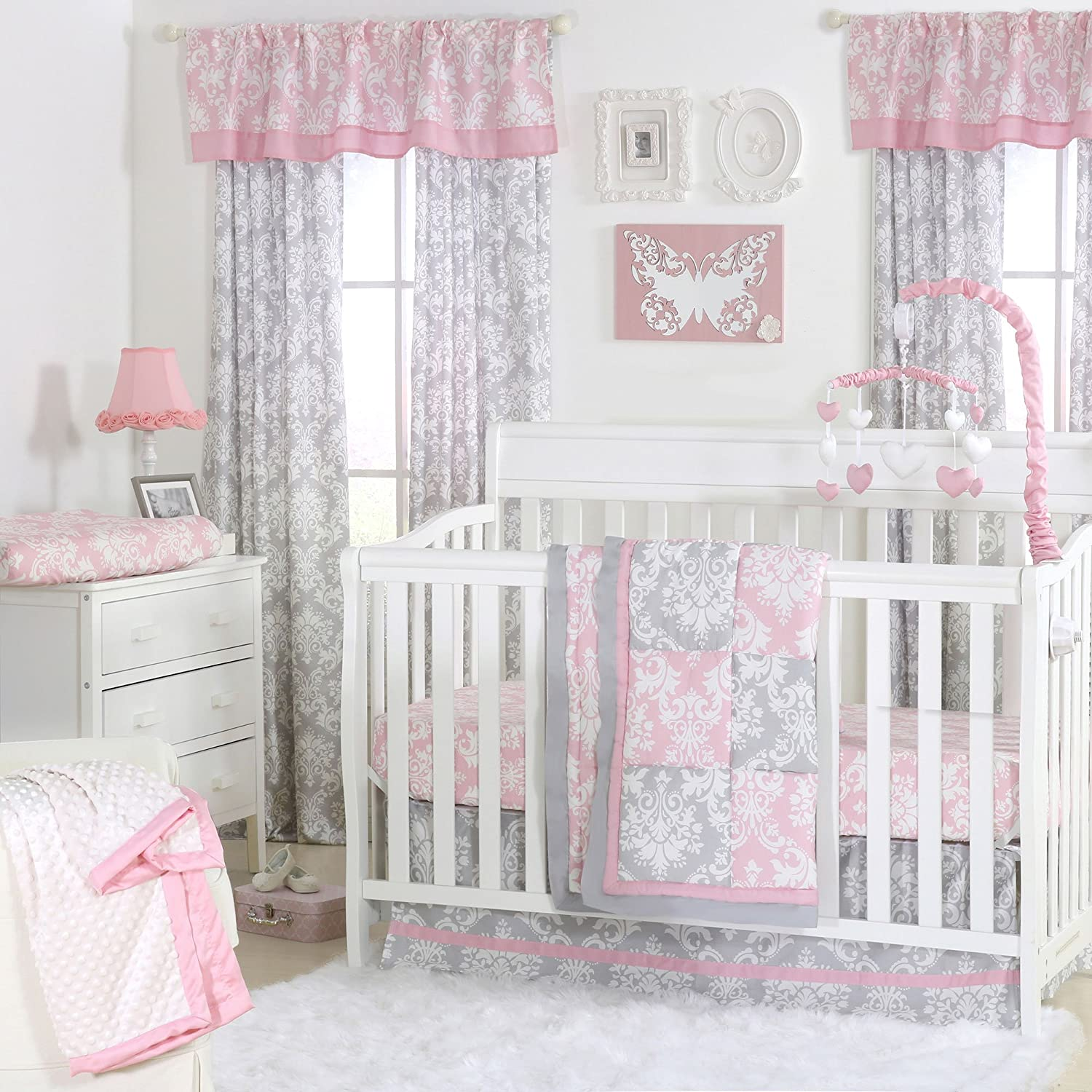 Pink and Grey Damask Patchwork 4 Piece Baby Crib Bedding Set by The Peanut Shell by The Peanut Shell
