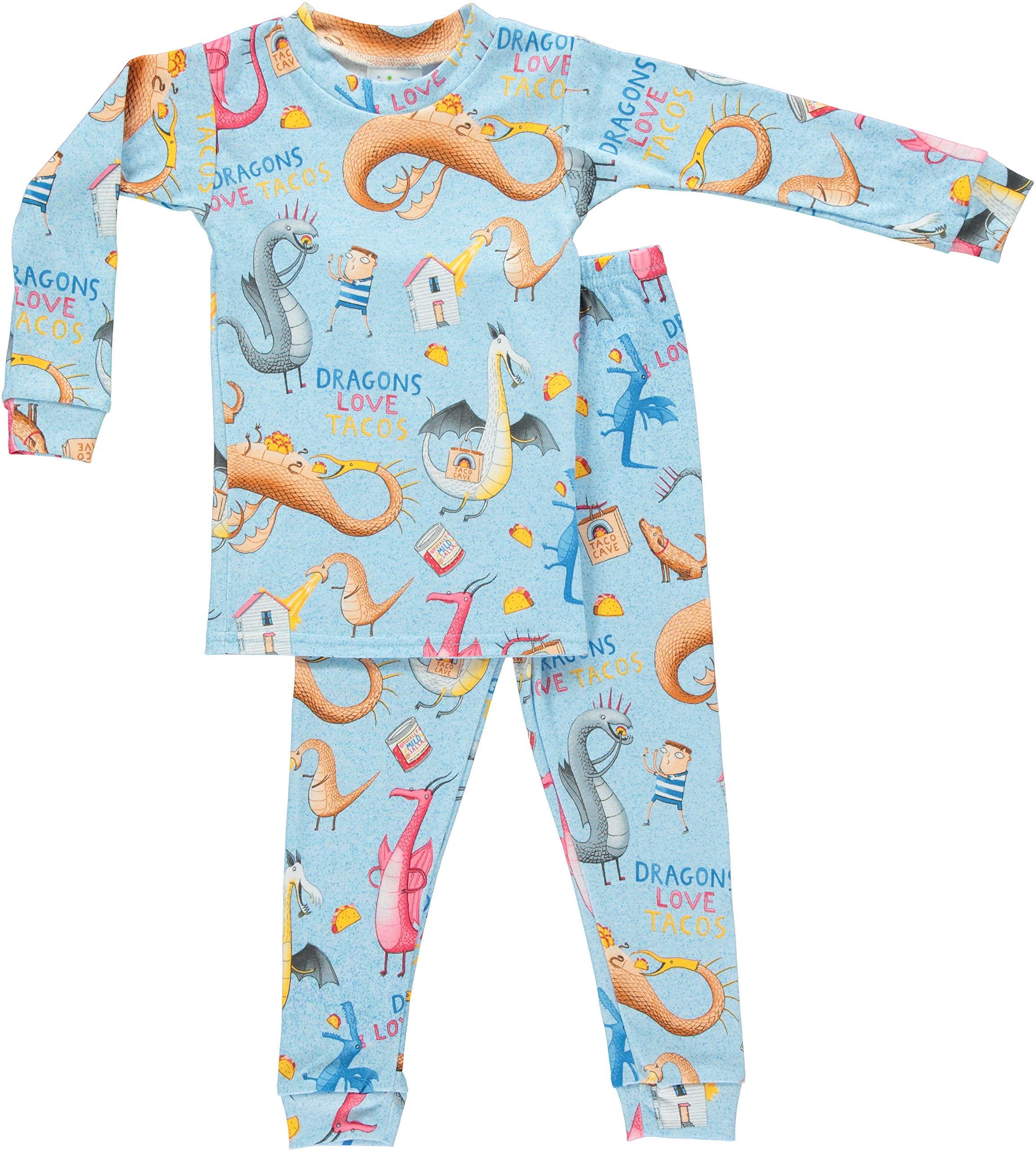Books to Bed Dragons Love Tacos Kids Pajamas Set (6X7)