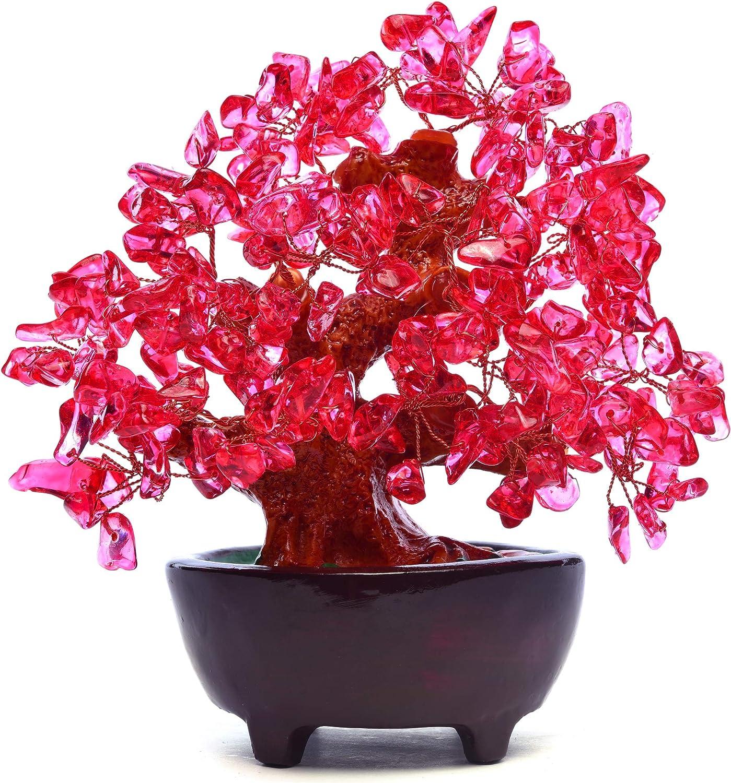 HapiLeap Árbol de Dinero, Gemas Feng Shui Adornos de árbol de Cristal curativo Figuras de árbol, ágata de geoda de Cuarzo Soporte para Oficina, Sala de Estar, decoración de Buena Suerte (Rojo)