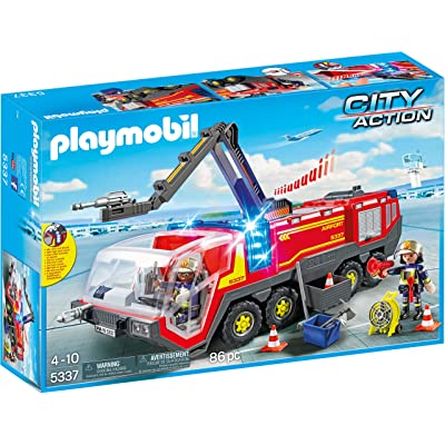 PLAYMOBIL Airport Fire Engine with Lights & Sound Building Set: Toys & Games