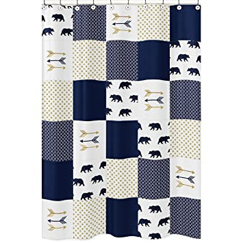 Sweet Jojo Designs Navy Blue, Gold, and White Bathroom Fabric Bath Shower  Curtain for
