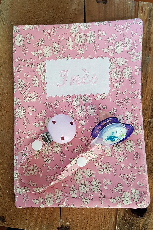 Cadeau de naissance bébé personnalisable - protège carnet de santé - brodé du nom- attache sucette Liberty Capel rose