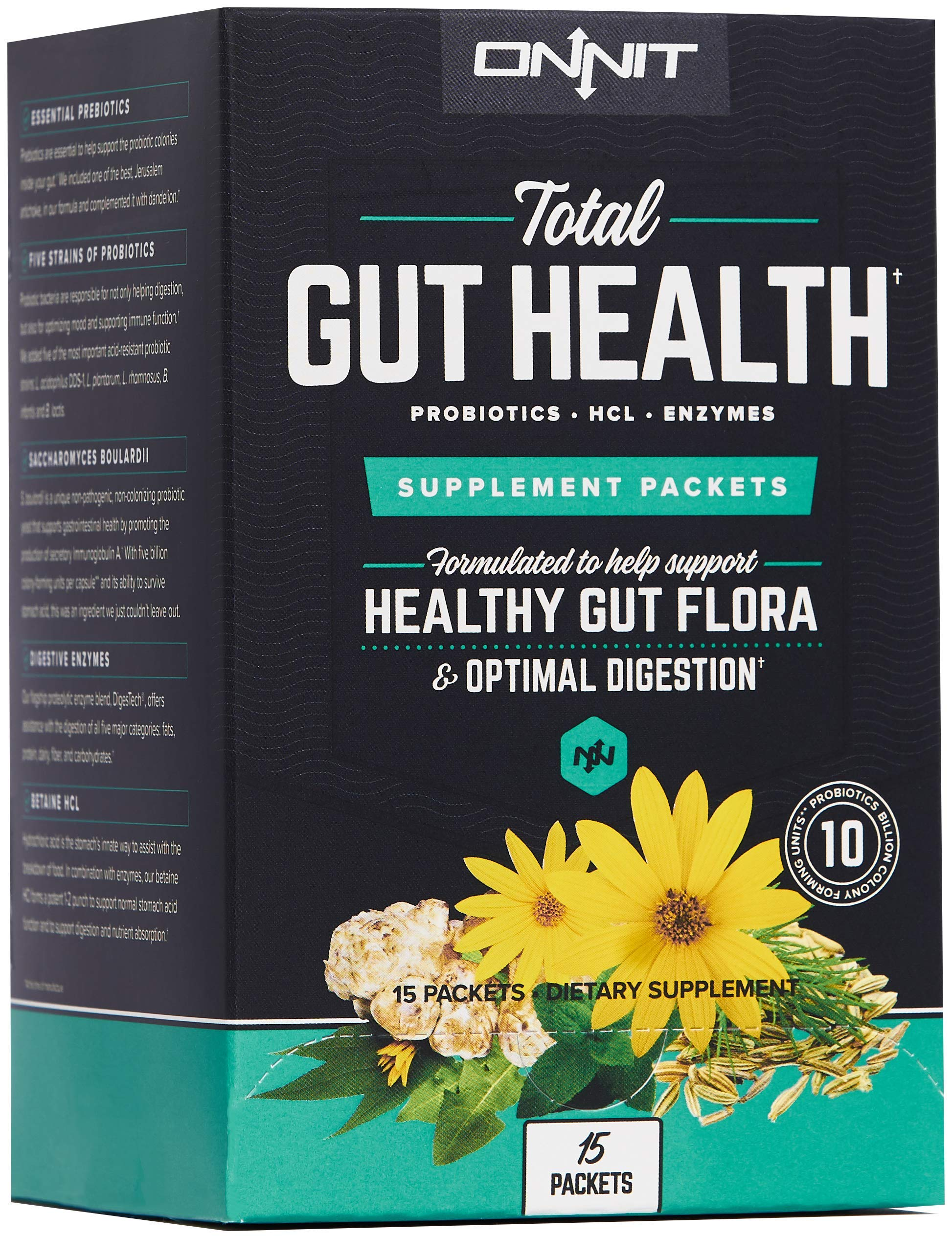 Onnit Total Gut Health: Daily Prebiotic, Probiotic, and Digestive Enzyme Packets (15 Pack)
