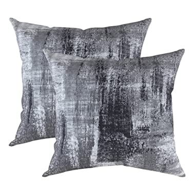 TreeWool Decorative Square Throw Pillow Covers Set Brush Art Accent 100% Cotton Cushion Cases Pillowcases (18 x 18 Inches / 45 x 45 cm; Black & Gray) - Pack of 2