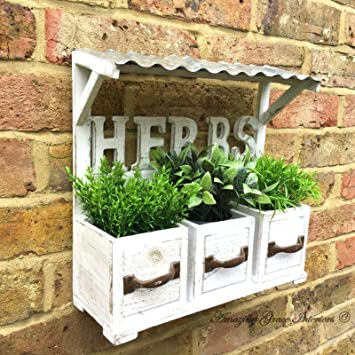 Vintage Country Style Wooden Wall Garden Planter Pots Herb Window