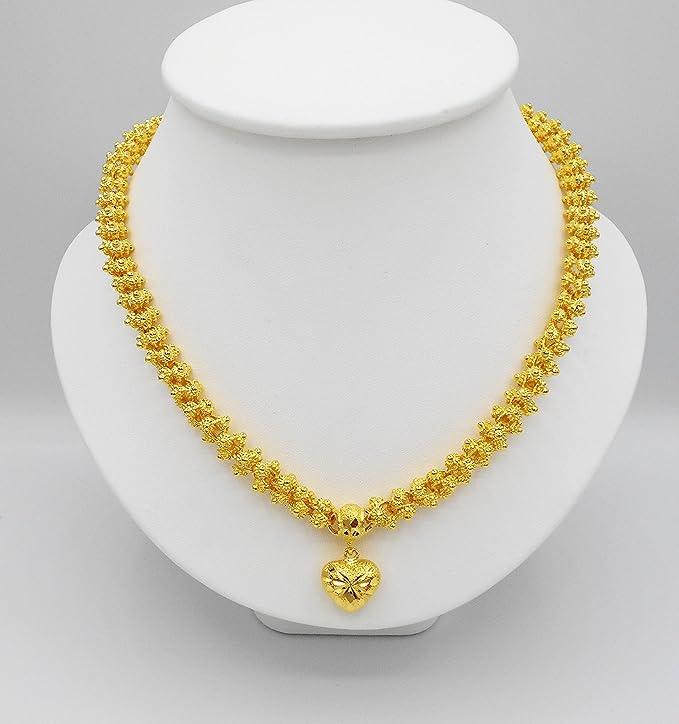Herz Pikun Blume 22 K 23 K 24 K Thai Baht Gelbgold GP Halskette Anhänger Schmuck Frauen