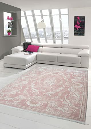 Traum Designer Teppich Moderner Teppich Wollteppich Meliert  Wohnzimmerteppich Wollteppich Ornament Rosa Pink Größe 80x150 Cm