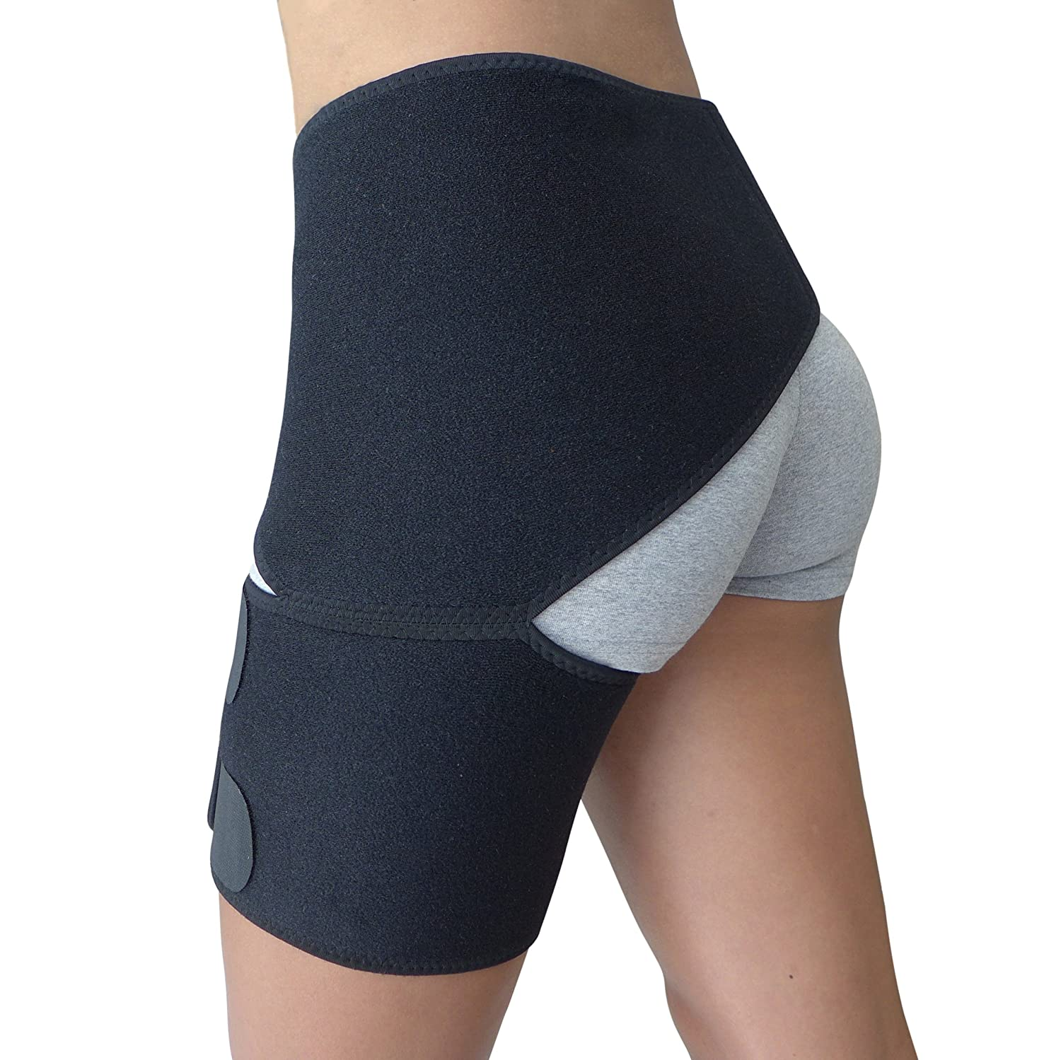 be6f967735 Amazon.com: Hip Brace - Groin Support for Sciatica Pain Relief Thigh  Hamstring Quadriceps Hip Arthritis - Best Compression Groin Wrap for Pulled  Muscles Hip ...
