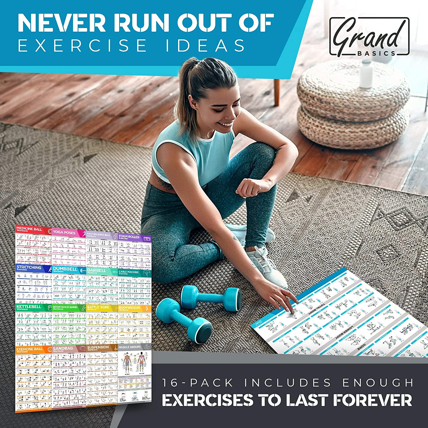 Stretching /& More Fitness Gym Posters 16-PACK Laminated Large Workout Poster Set Perfect Workout Posters For Home Gym Resistance Band Dumbbell Exercise Charts Incl Yoga Poses Kettlebell