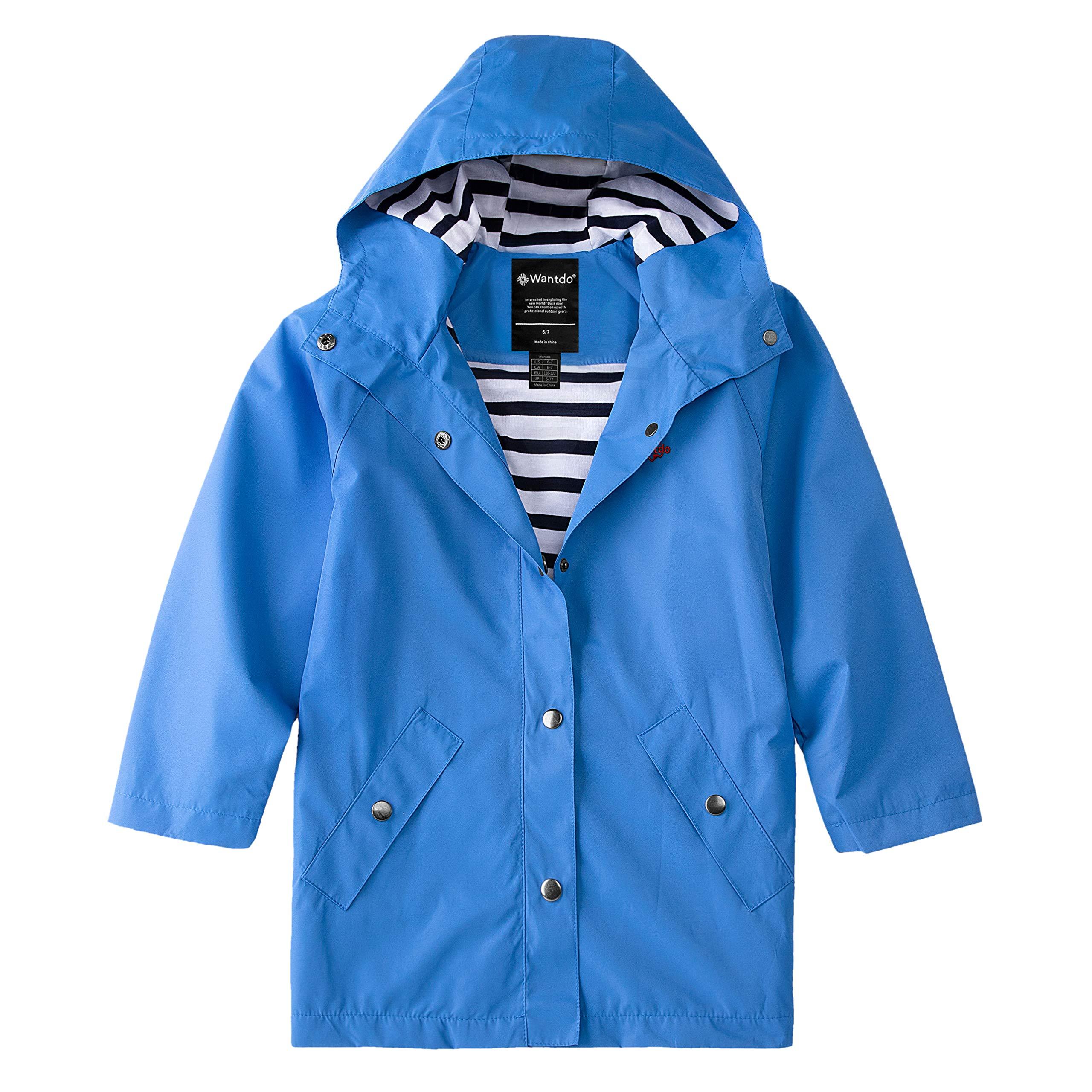 Wantdo Boys Waterproof Packable Rain Jacket Lightweight Camping Raincoat Blue 8 by Wantdo