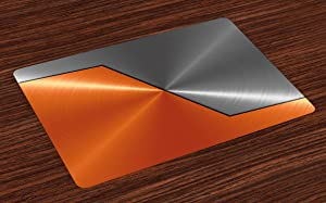 Ambesonne Orange and Grey Place Mats Set of 4, 3D Style Machinery Structure Image Detailed Vivid Modern Contrast Colors, Washable Fabric Placemats for Dining Room Kitchen Table Decor, Orange Gray