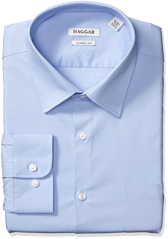 Haggar Dress Shirts Mens Classic Fit Performance Adjustable Spread Collar Dress Shirt