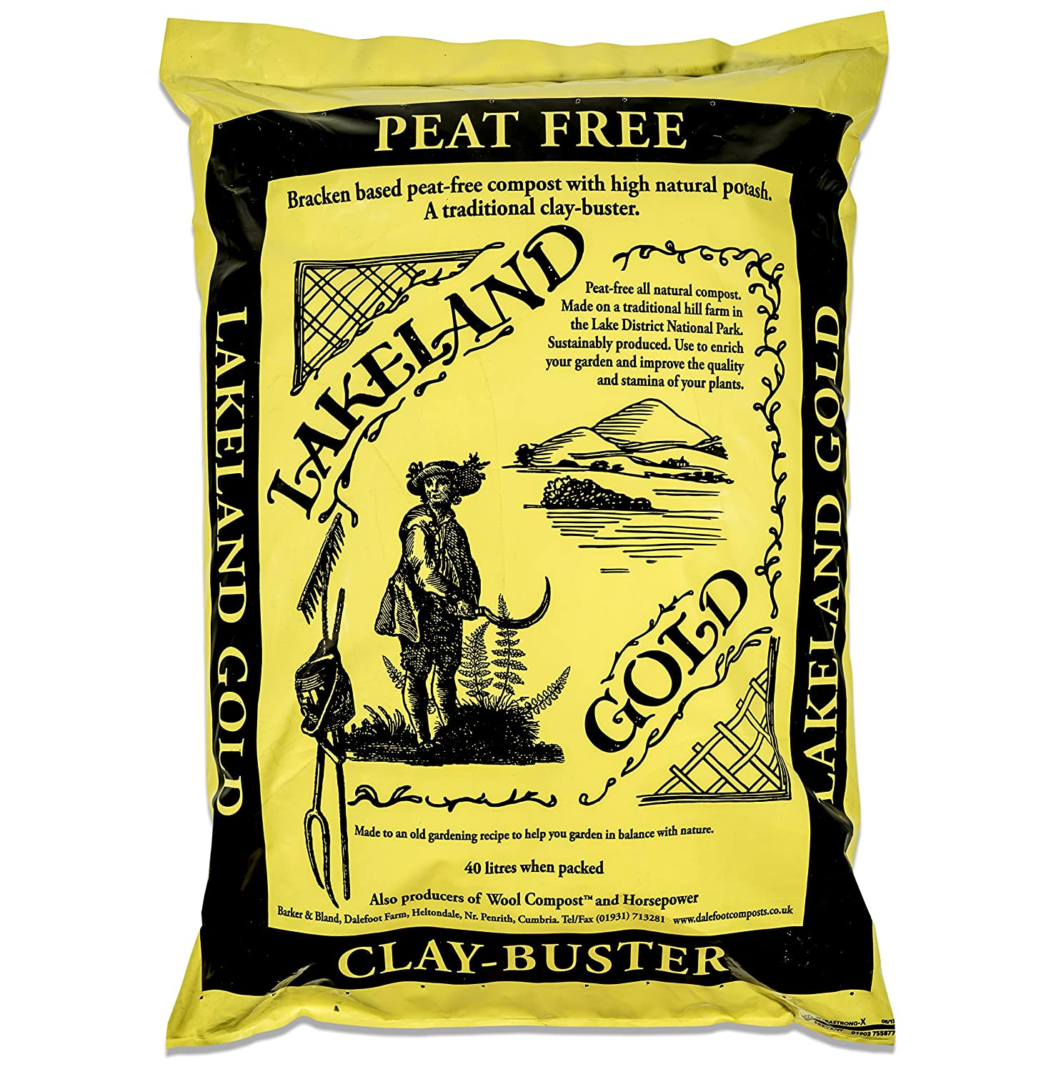 2 x Bags of Lakeland Gold peat-Free Compost: 40 litres Dalefoot