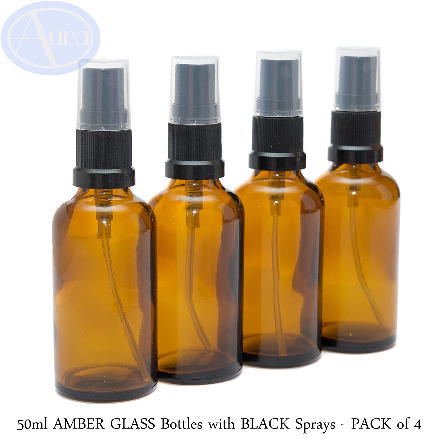 50ml AMBER Glass Bottles with Black ATOMISER Sprays - PACK of 4 Aura Essential Oils