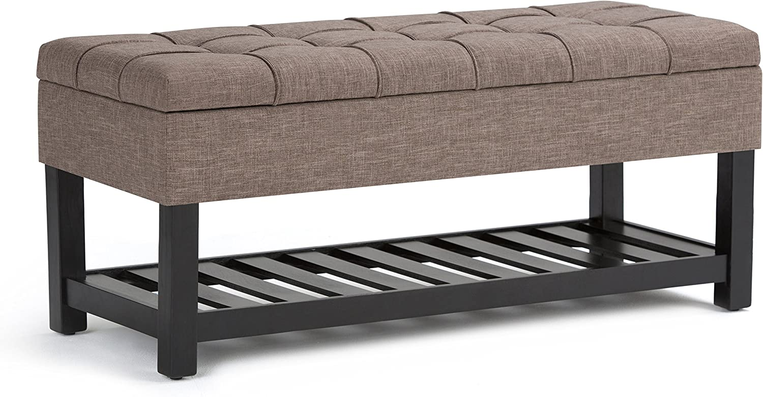 SIMPLIHOME Saxon 44 inch Wide Rectangle Storage Ottoman Bench with Open Bottom and Lift Top in Fawn Brown Footrest Stool, Linen Look Polyester Fabric for Living Room, Bedroom, Traditional