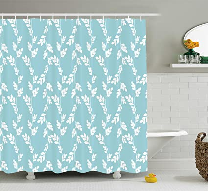 Ambesonne Rustic Shower Curtain Rural Meadow Field Yard Wildflowers Farmhouse Style Cottage Countryside Garden