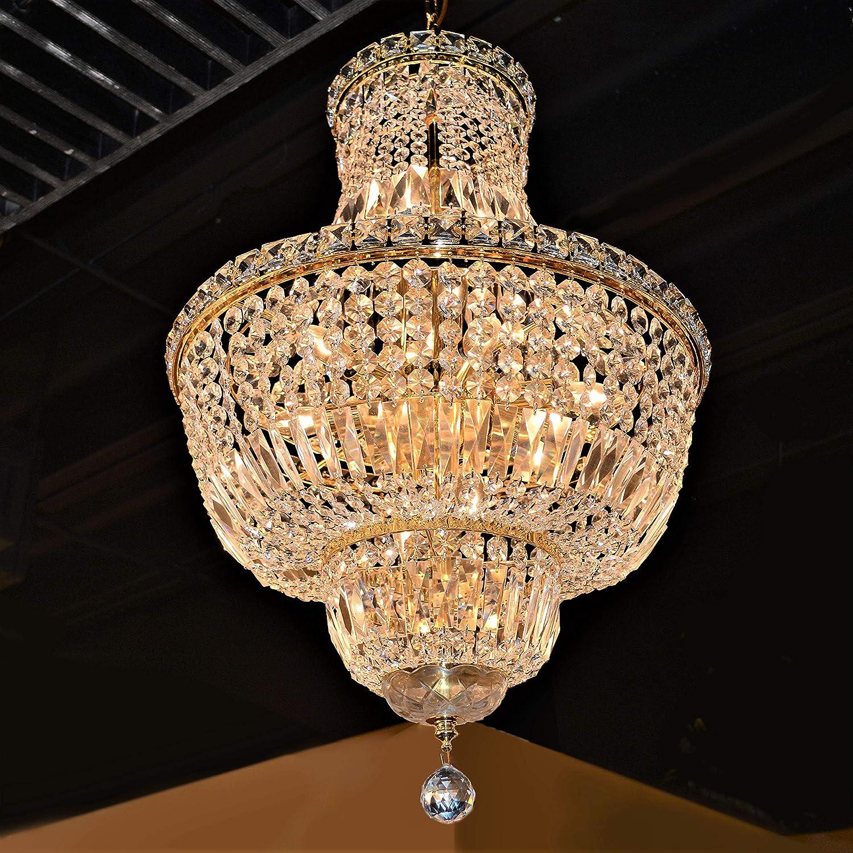 Worldwide Lighting Empire Collection 12 Light Gold Finish Crystal Chandelier 18 D x 27 H Round Medium