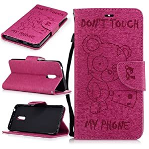 BONROY¨ Magnetic Flip Cover for Nokia 6,Cute Funny Little Bear Embossing Wallet Case with Hand Strap for Nokia 6, Premium PU Leather Folio Style Retro PU Leather Wallet Flip with Card Slots and and Stand Function Case Cover for Nokia 6