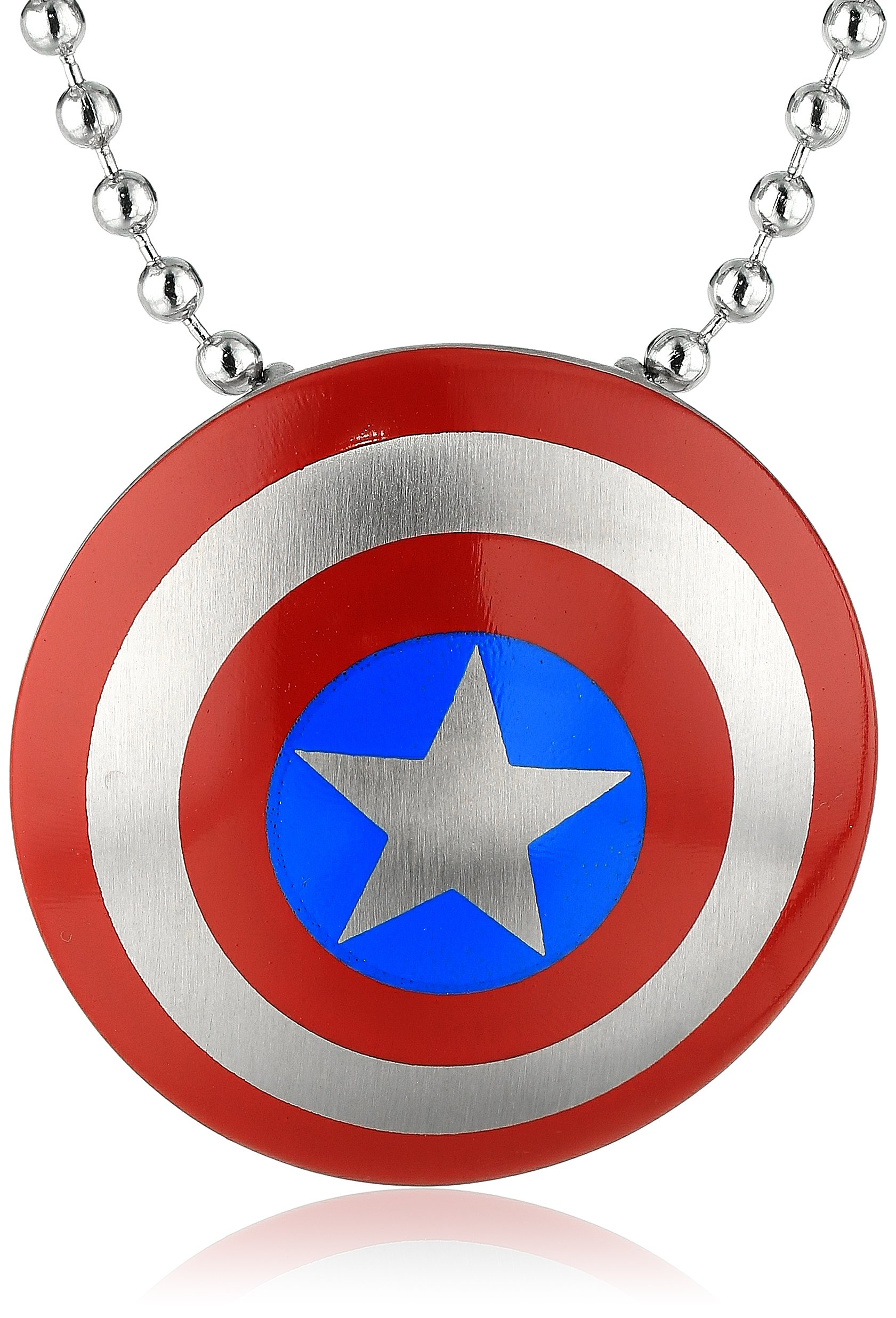 Marvel Comics Unisex Captain America Stainless Steel Chain Pendant Necklace, 24''