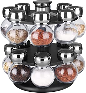 Home Basics 16pc Spice Jar Revolving Spice Rack for Kitchen Spinning Countetop Herbs & Spices Organizer, Chrome