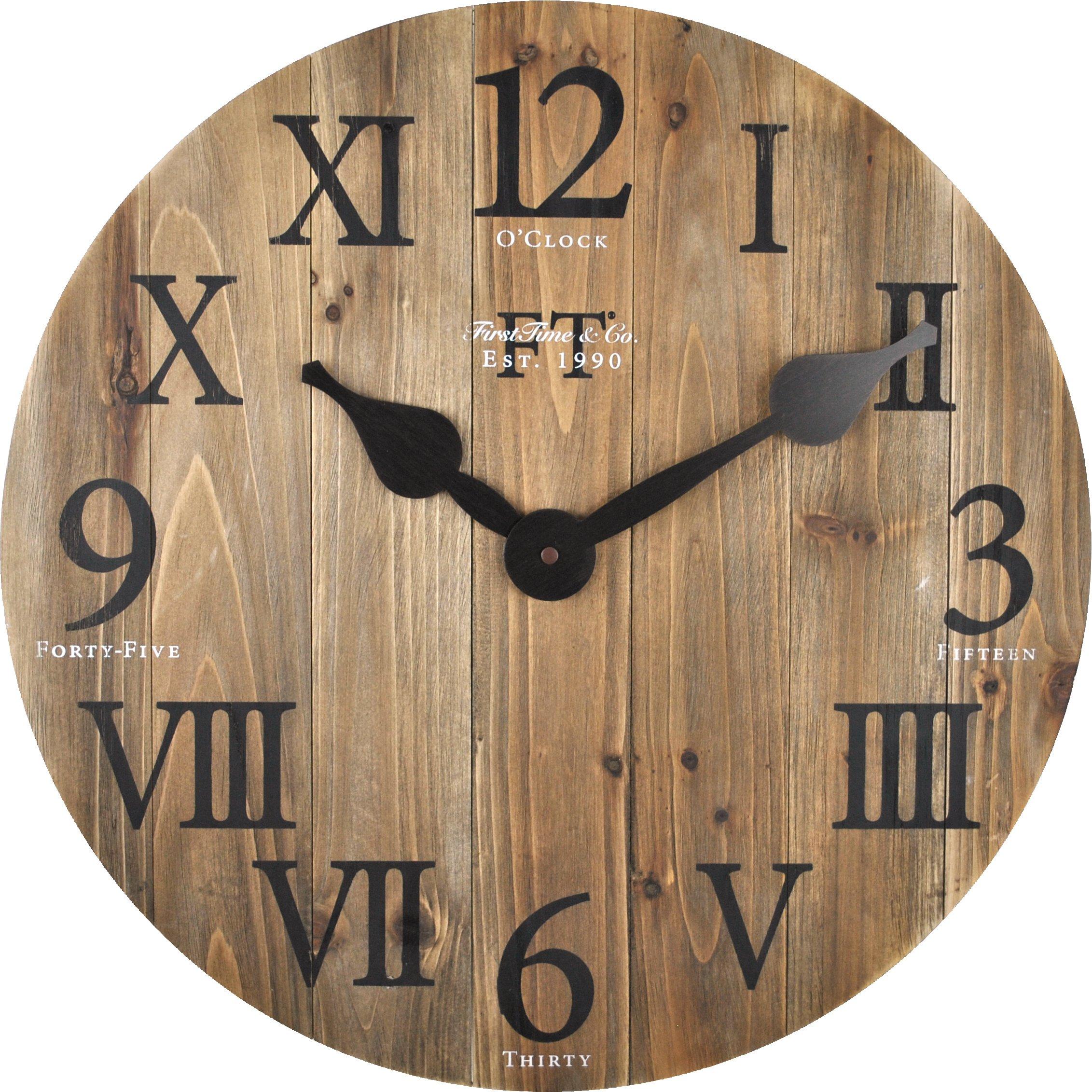 FirsTime 99686 Rustic Barn Wood Wall Clock, Natural Wood