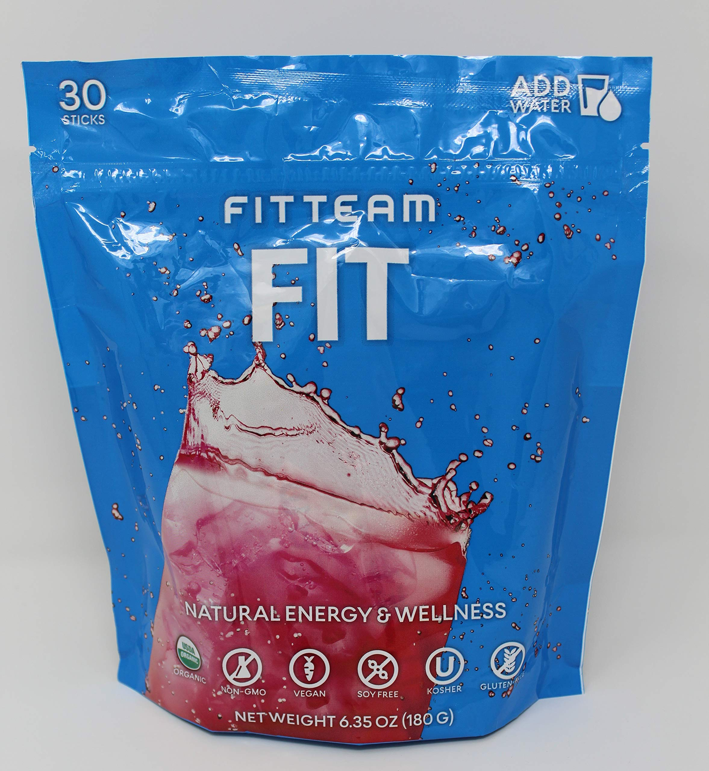 Energy Weight Loss Drink Fitteam Fit Sticks,Organic, GF, DF Vegan - 30 Sticks by FITTEAM FIT
