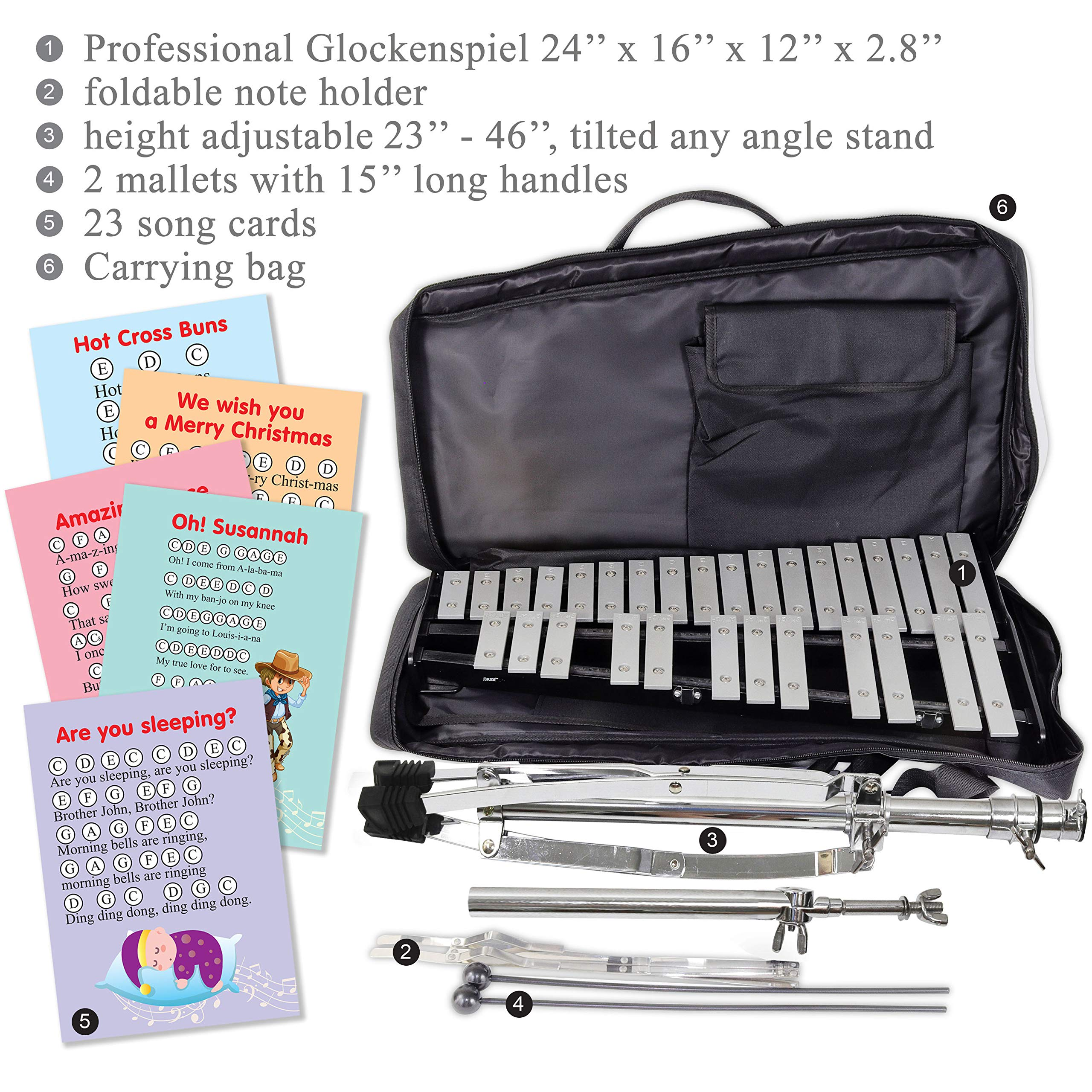 30 note Professional Glockenspiel - Metal Bell Kit Xylophone with Stand, Note Holder and Carrying Bag by inTemenos (Image #9)