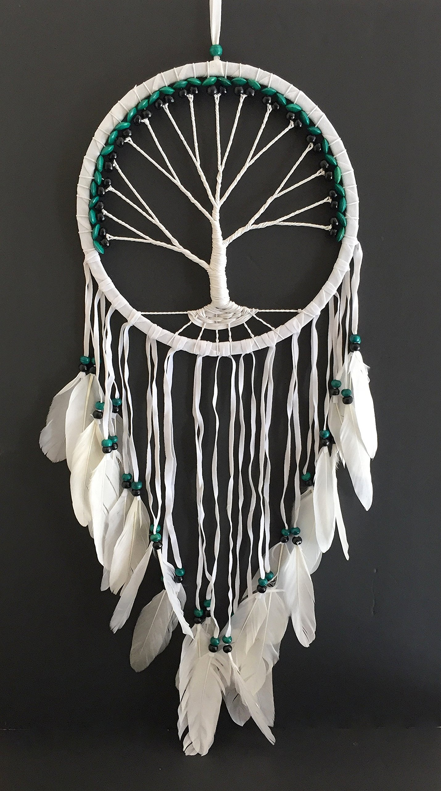 OMA Dream Catcher - TREE OF LIFE White Suede Dreamcatcher HAND CRAFTED With REAL Feathers & Wood Beads - LARGE SIZE - 36'' Long x 11'' Diameter BRAND (Green)
